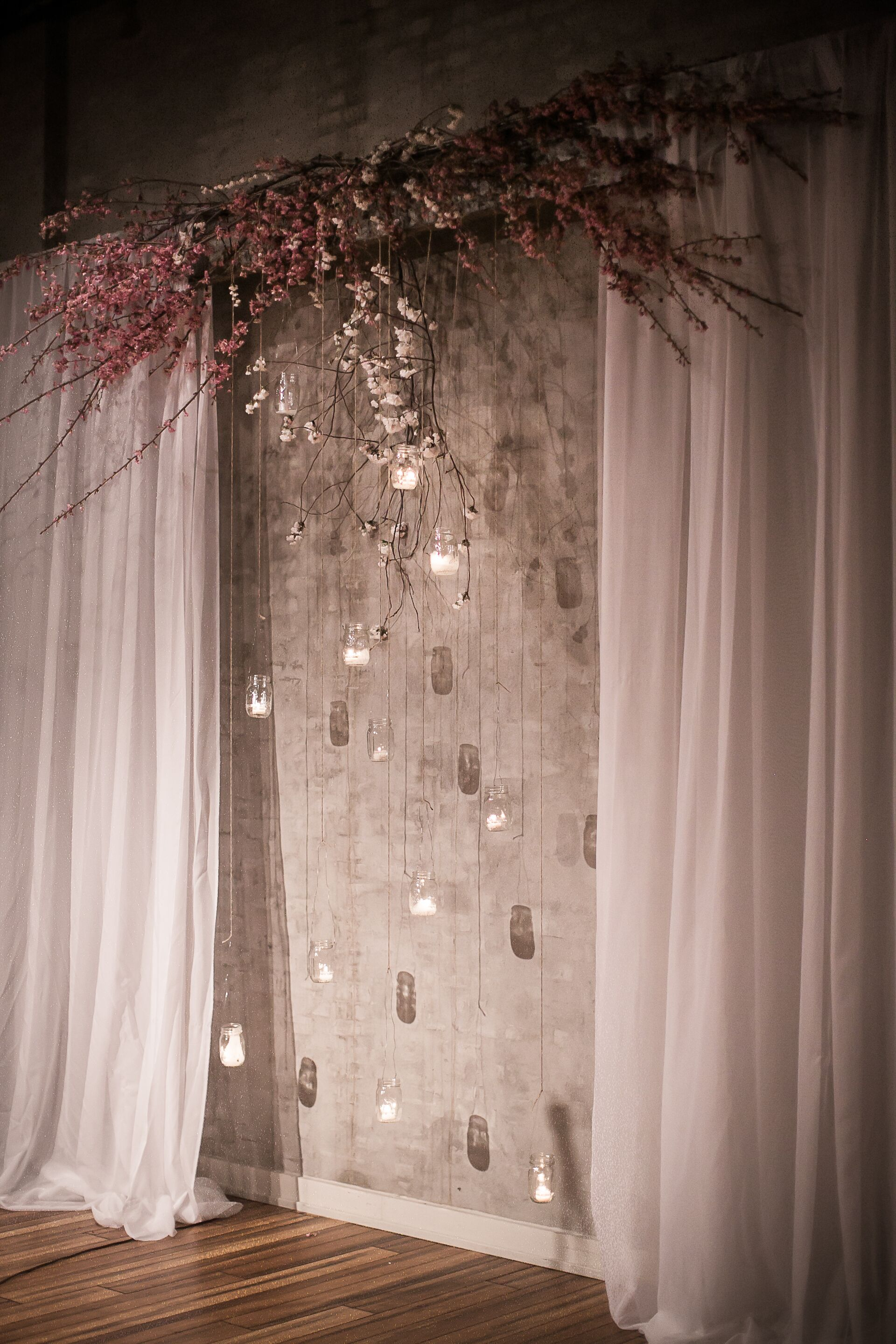 Altar Decor With Hanging Candles In Mason Jars And Cherry