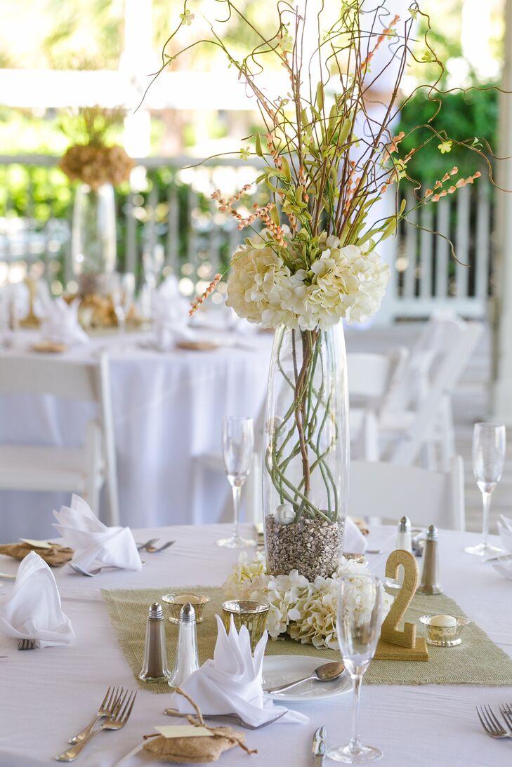 Tall White Hydrangea Green Vine Centerpieces