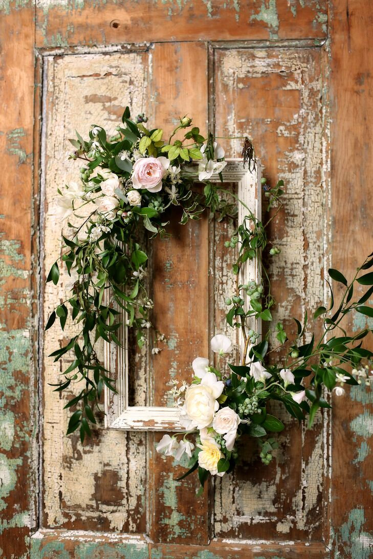 Wooden Frame With Vines And Pink Roses