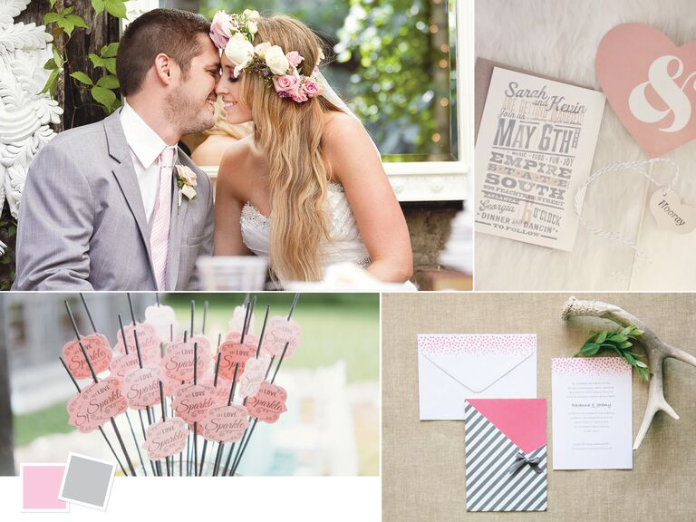 Romantic light pink and gray wedding color palette