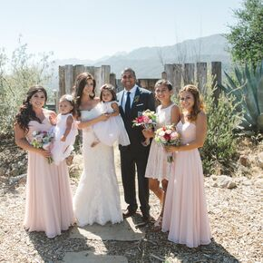 Rustic Outdoor Ranch Wedding Blush Bridesmaid Dresses
