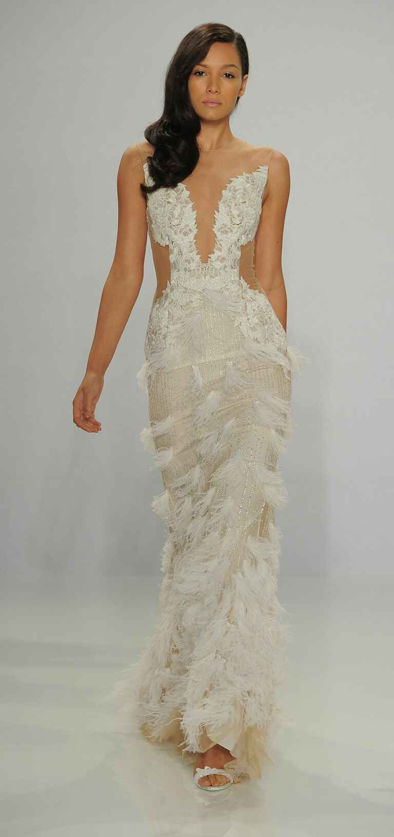 Christian Siriano Spring 2017 feather illusion wedding dress
