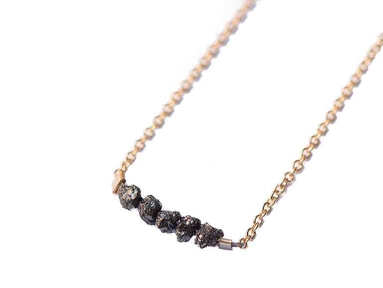 Black diamond necklace modern 10 year anniversary gift