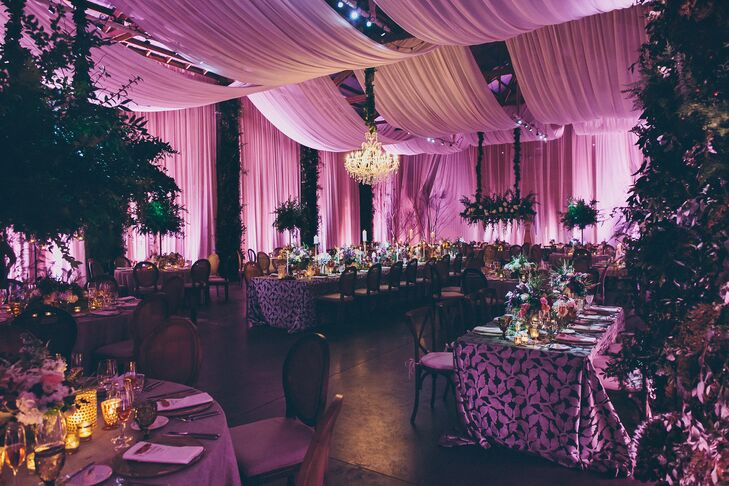 Luxe Reception Space with Dramatic Uplighting and Draping