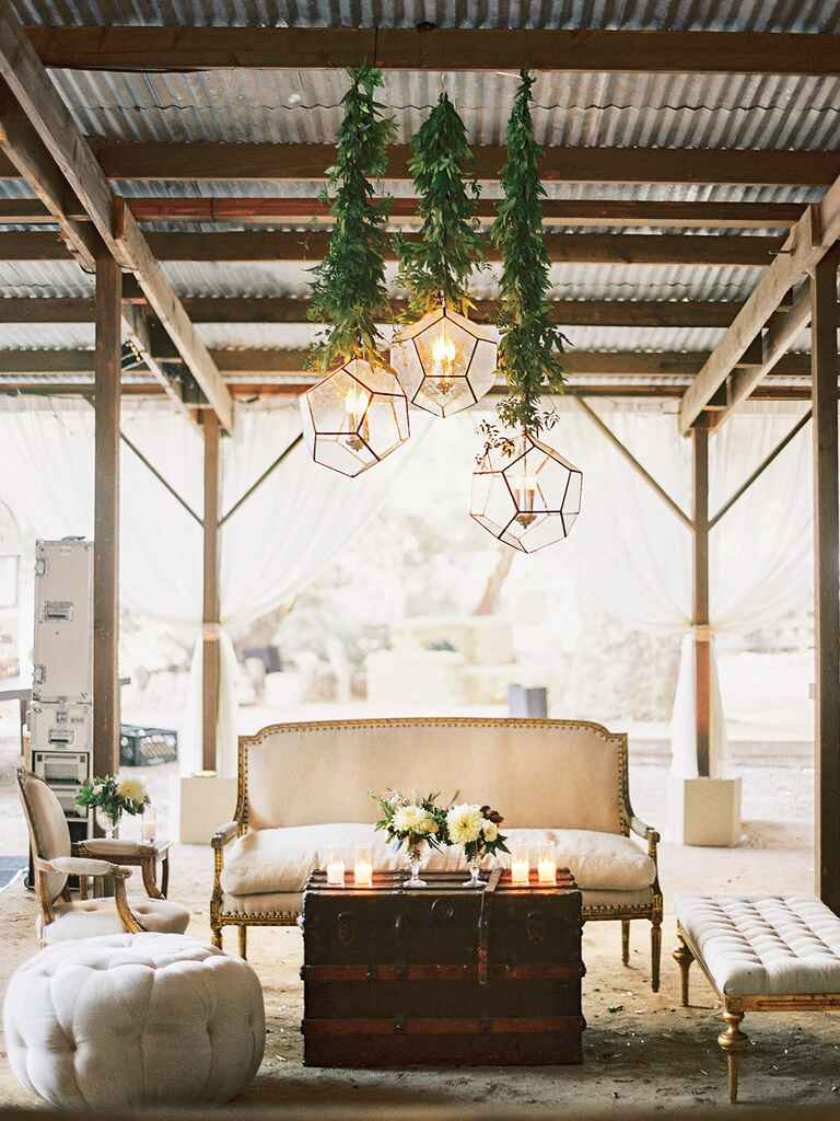 Rustic wedding lounge space