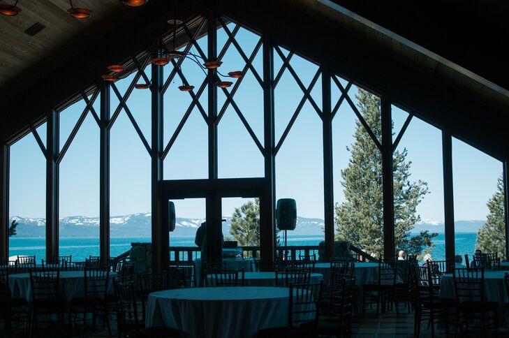 The views at Edgewood Tahoe in Stateline, Nevada, are incredible: From Lissette and Justin's reception room, they had a panoramic view of the mountains, lake and woods.