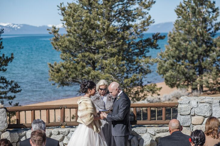 Lissette and Justin's heartfelt ceremony took place overlooking the clear Lake Tahoe and snow-covered mountains surrounding Lake Tahoe.