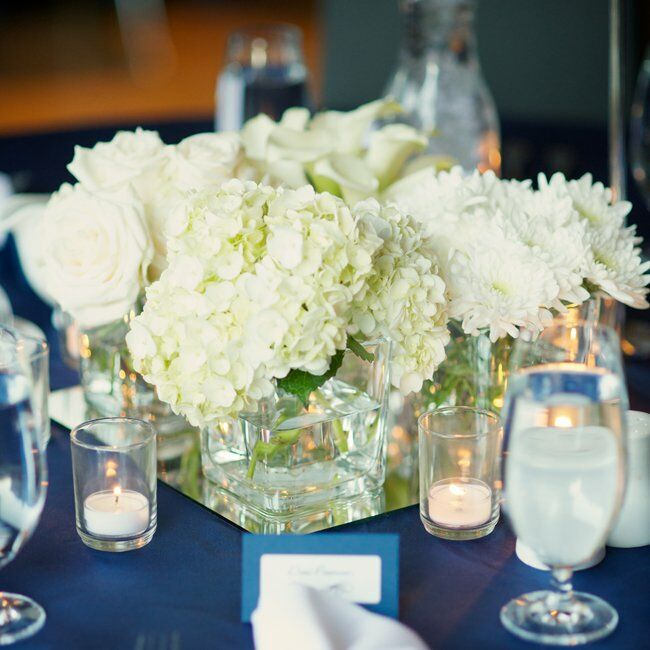 White hydrangea centerpiece on navy tablecloth