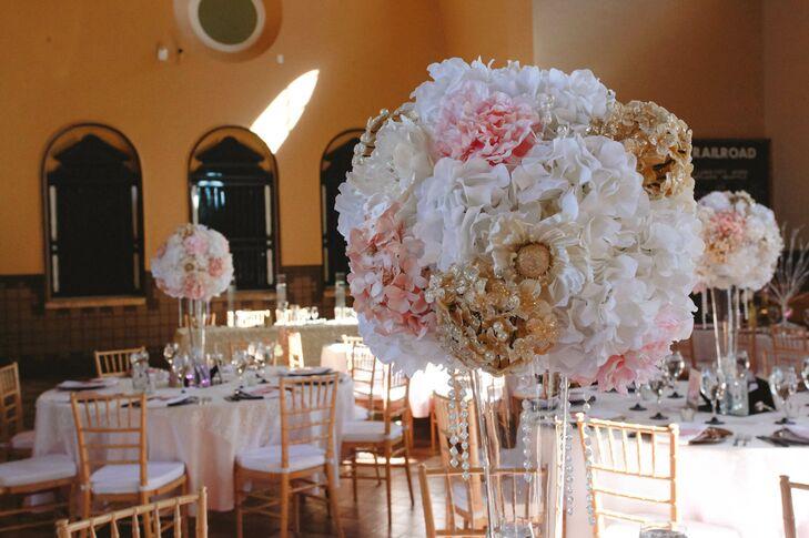Pink white gold silk flower centerpieces mightylinksfo
