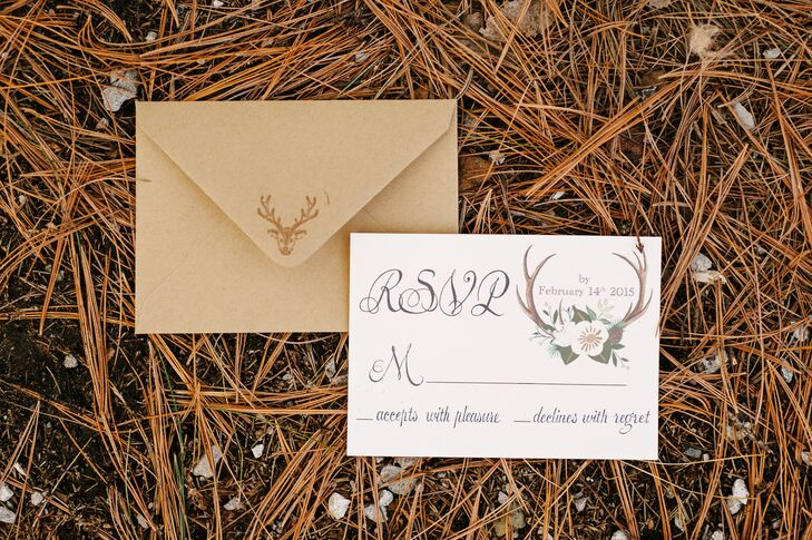 As a nod to the day's subtle deer motif, RSVP cards were covered in antlers, while miniature deer figurines topped reception tables.