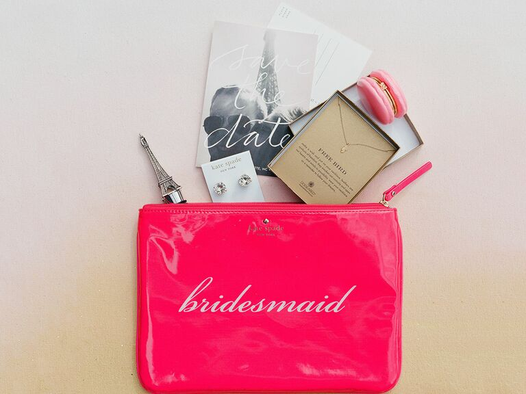 Gold monogrammed bridesmaid clutches