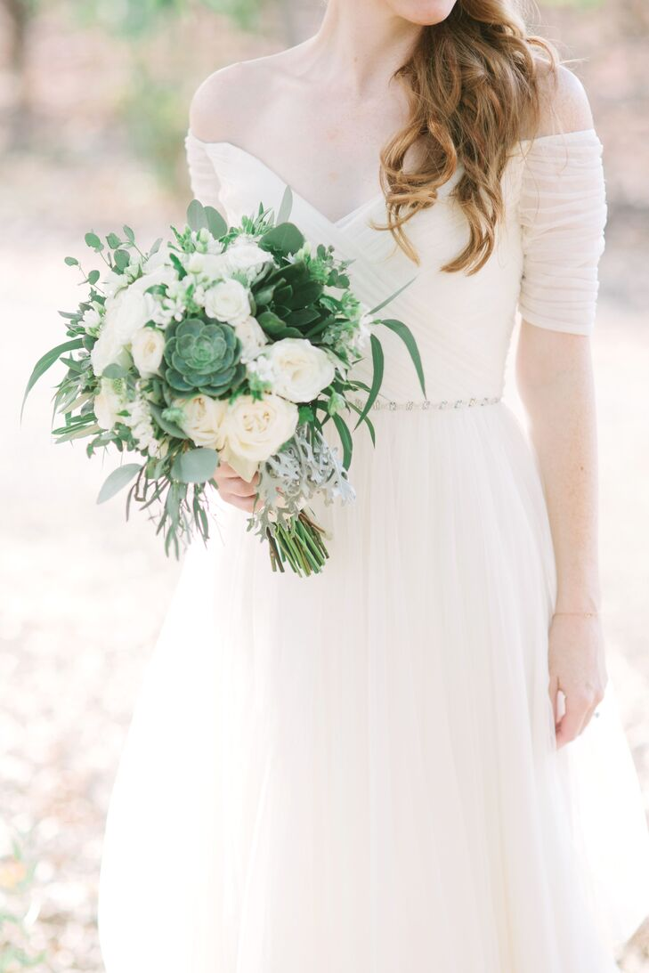 Succulent and Dusty Miller Bridal Bouquet