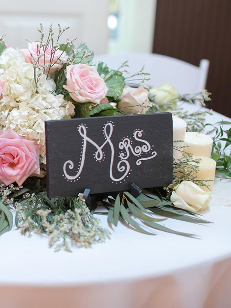 DIY sweetheart table wedding reception signs