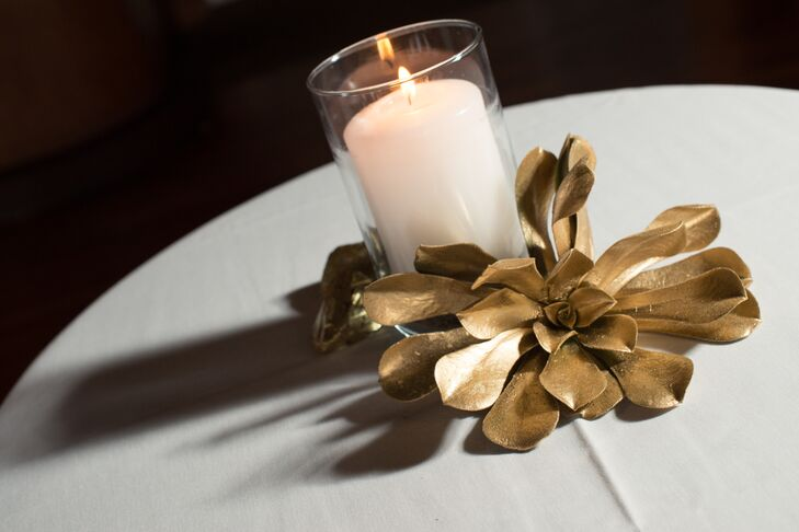 Gold Succulent and Candle Centerpieces