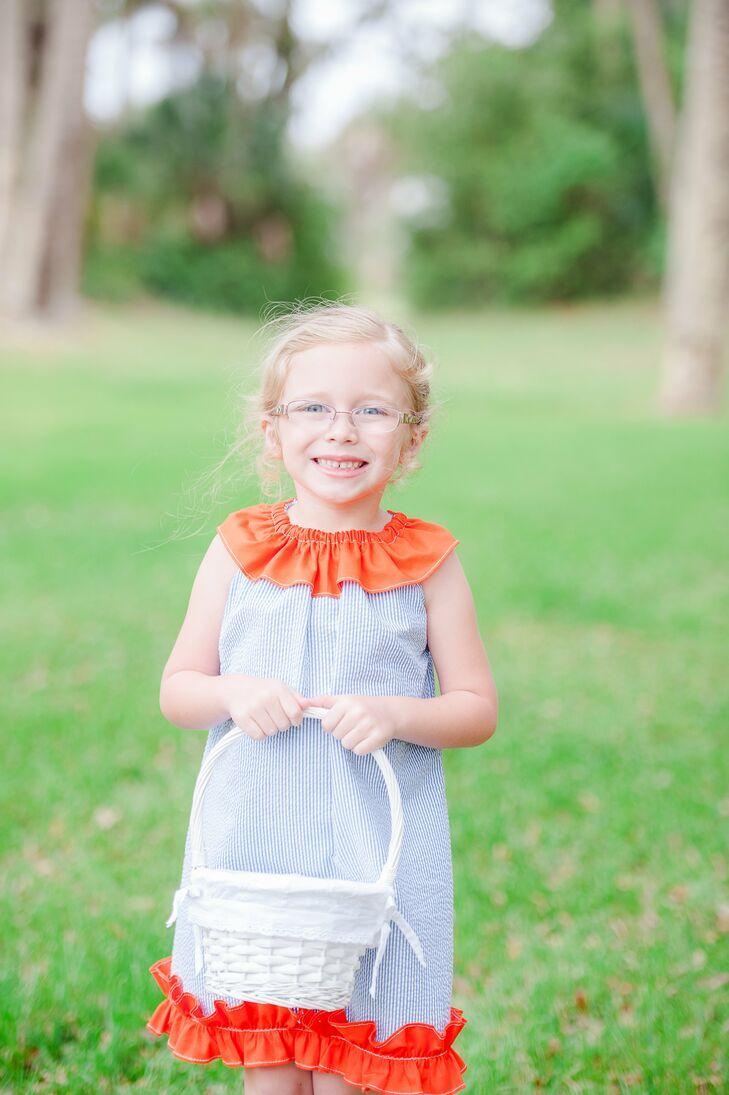 Periwinkle And Orange Ruffle Flower Girl Dress