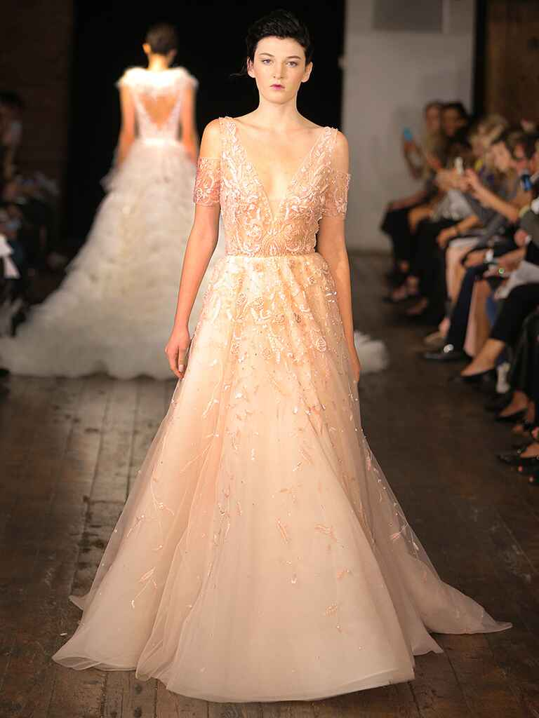 Blush pink wedding gown by Rivini