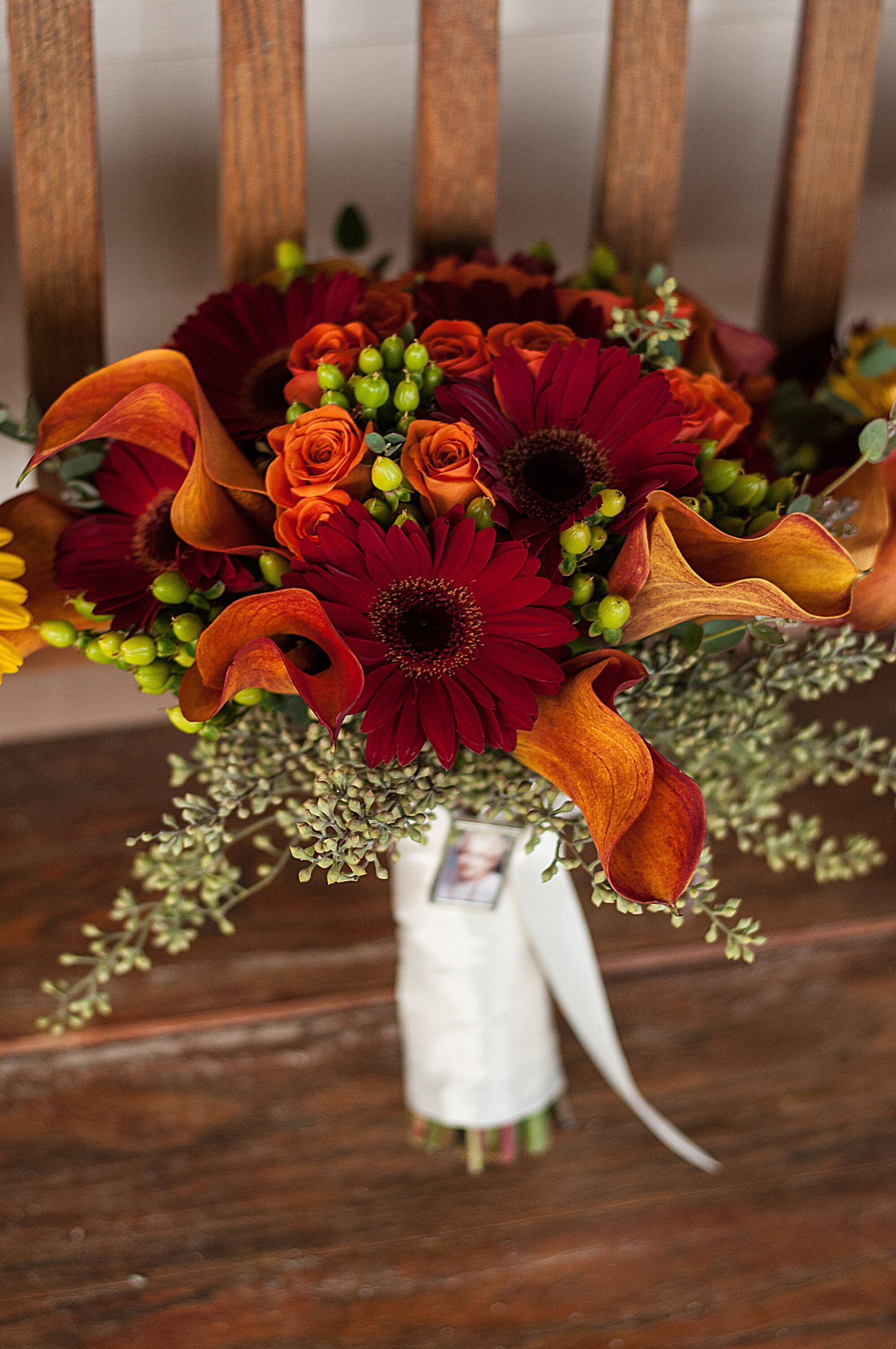 Burnt Orange And Red Bridal Bouquet