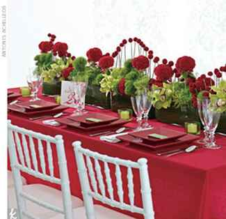 red and green wedding reception table