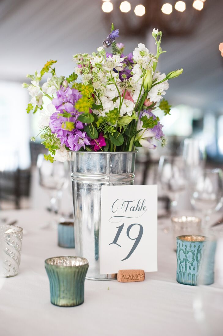 Gray and White Table Number with Wildflower Centerpiece