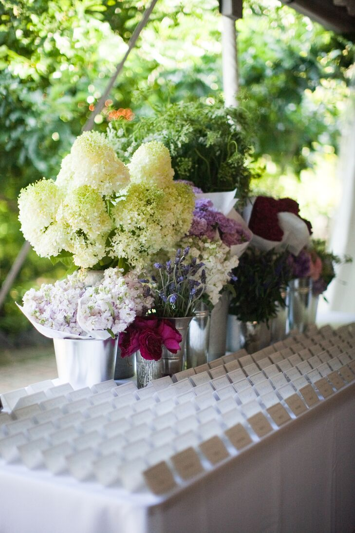 Various flower bouquets decorated the place card table creating the look of a French flower cart.