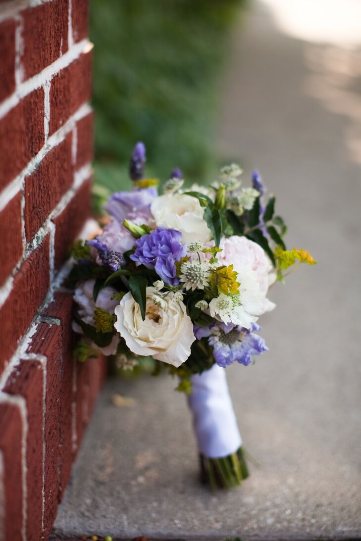 Purple and White Bouquet with Purple Bouquet Wrap