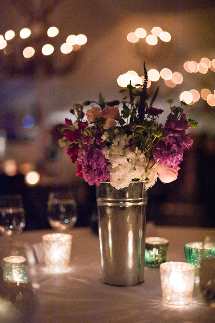 As the night went on, tea light candles added warm, romantic lighting to the reception.