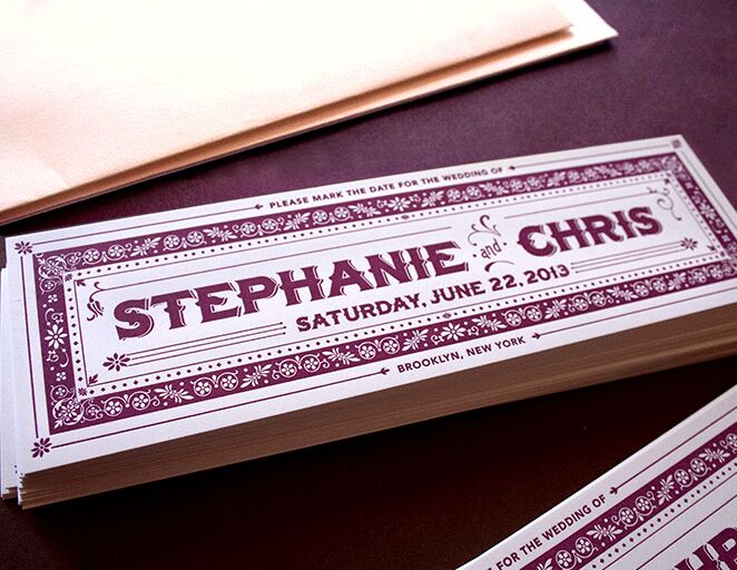 Letterpressed bookmark save-the-date from Golden Rectangle Press