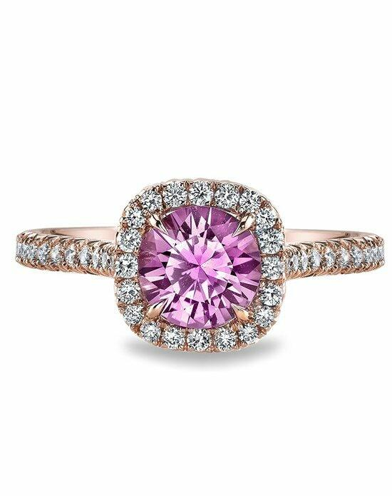 Ritani Pink Sapphire French-Set Diamond Cushion Halo Engagement Ring in 18kt Rose Gold Engagement Ring photo