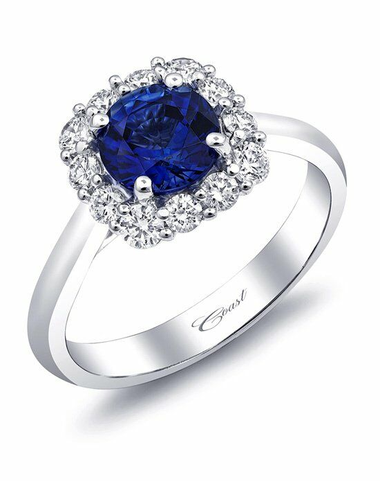Coast Diamond Cushion Halo Sapphire Engagement Ring-LC5254-S Engagement Ring photo