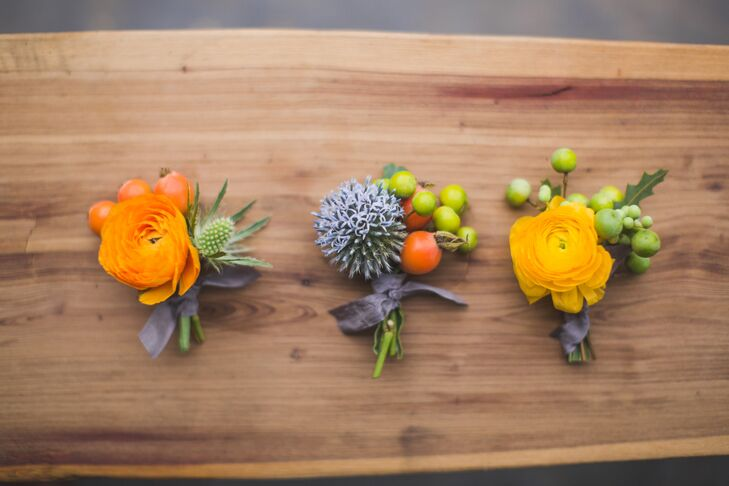 Yellow and Orange Ranunculus Boutonnieres
