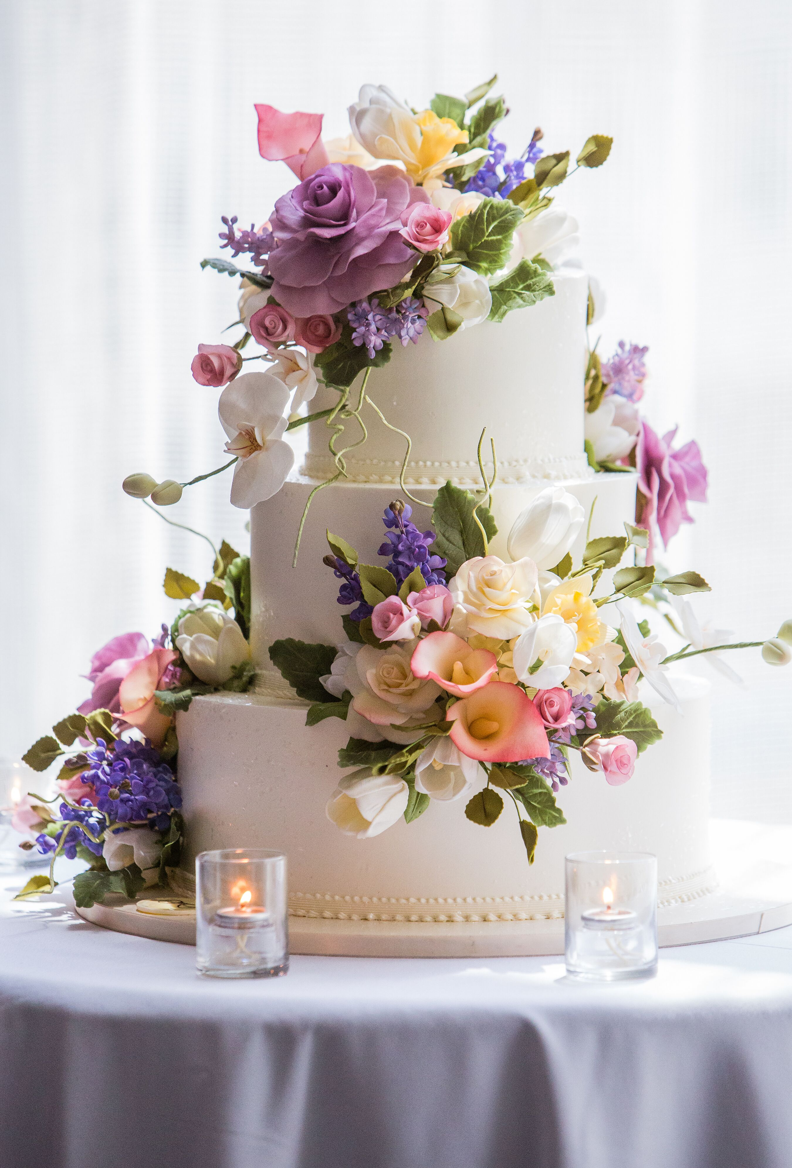 Sugar Roses, Peonies And Orchid Wedding Cake Decor