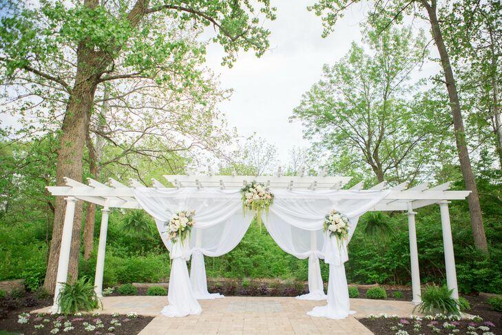 Wedding Ceremony Ideas Flower Covered Wedding Arch: Draped White Pergola Wedding Arch