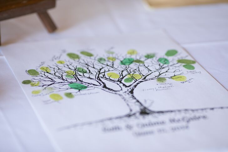 Instead of a traditional guest book, guests placed their thumbprints on a photo of a tree in green ink, creating the look of leaves on the tree.