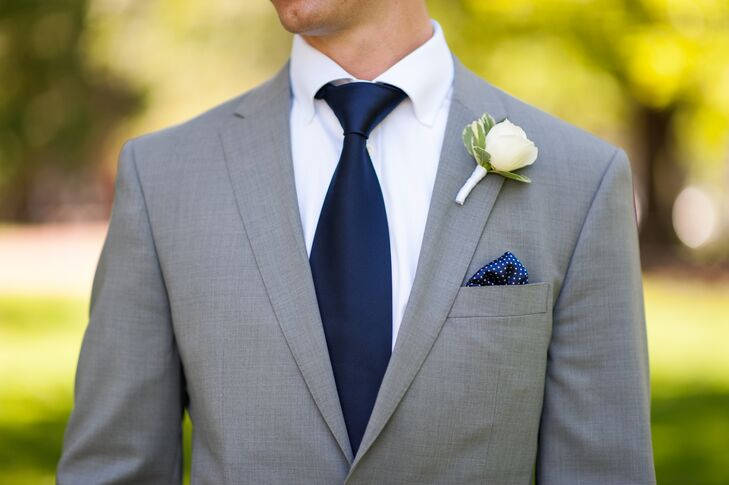 Light Grey Suit Navy Tie Dress Yy