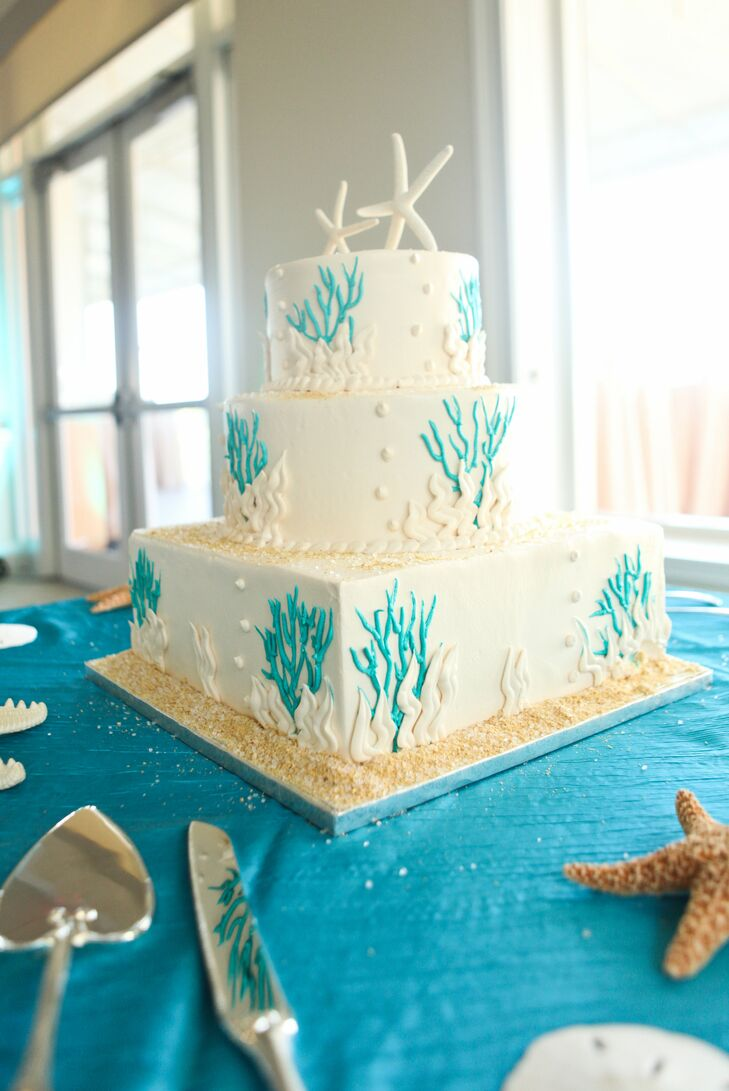 Baked by Publix, the couple chose a three-tier ivory confection for their wedding. The round and square cake was covered with bright blue coral detailing to go with the ocean theme, and two starfish were used as its topper. Rachel and Curt also invited their 65 guests to take home bright blue and green candies as their wedding favors.