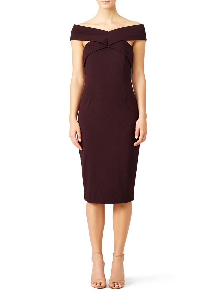 Rent The Runway Marsala Fall Wedding Guest Dress