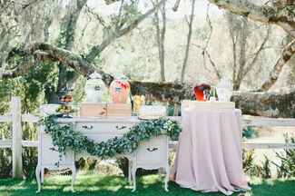 Vintage pre-ceremony drink display