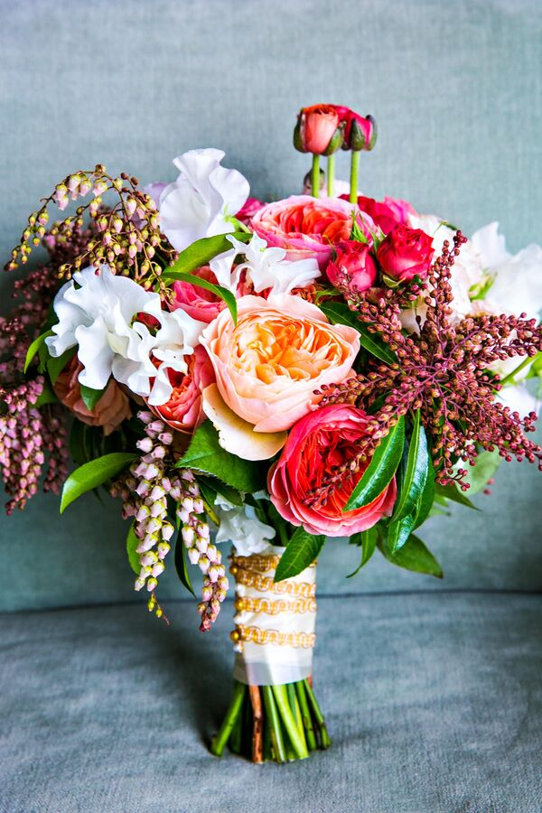 Ivory, Peach and Pink Bouquet