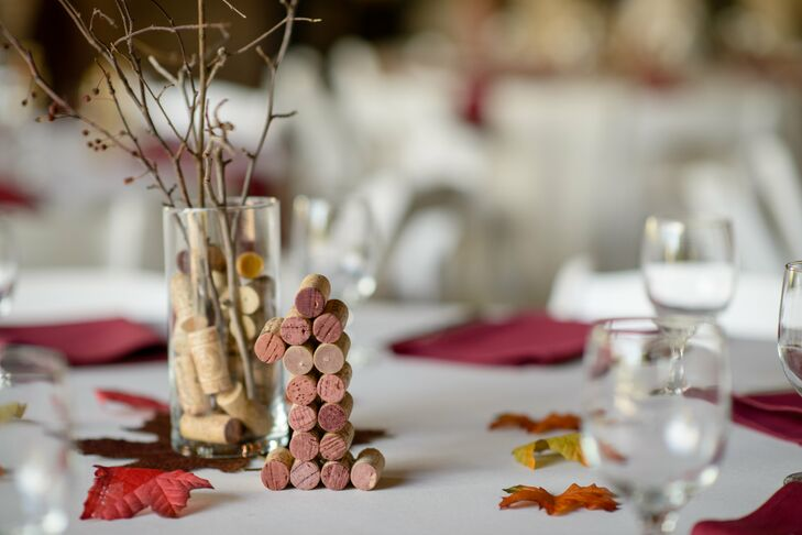 Table numbers were represented in block letters made out of cork stoppers, and the branchy centerpieces were arranged in vases filled with cork stoppers.