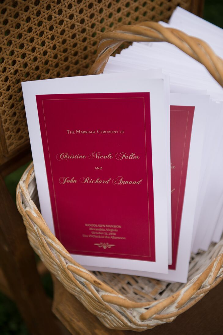 John's sister designed the red ceremony programs with white borders, to match most of the stationery. The programs went along with the seasonal palette and embodied a classic style.