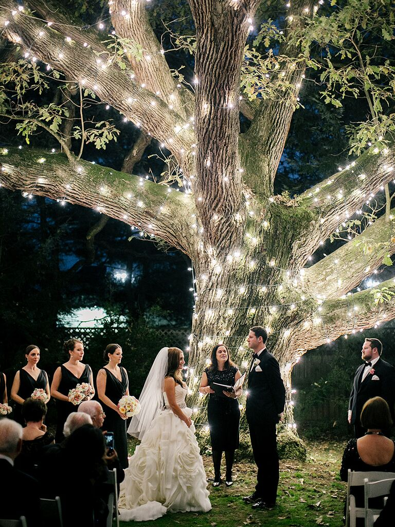 Unique nighttime wedding ceremony idea