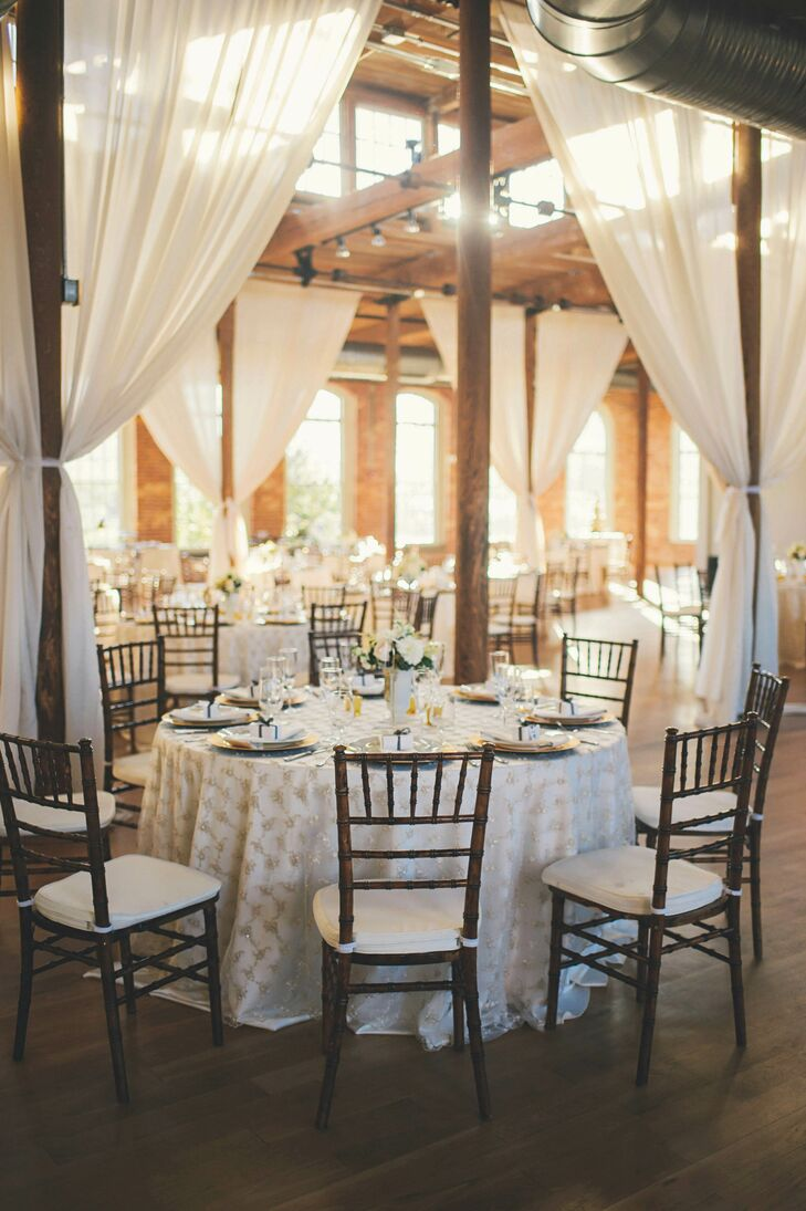 Beaded White Table Linen Industrial Reception