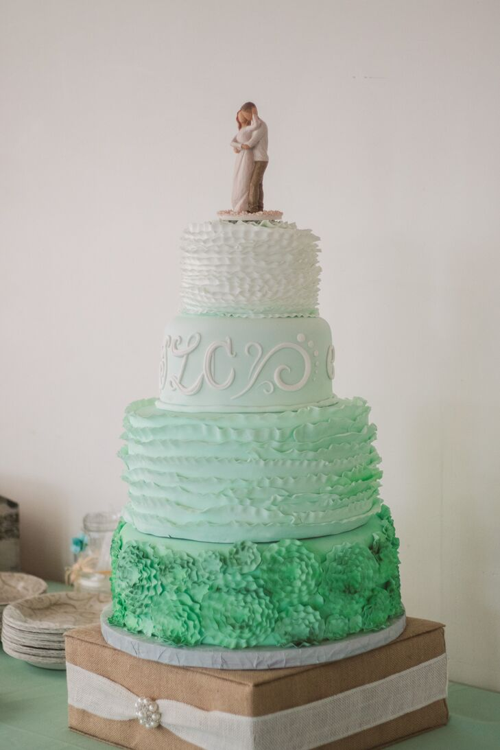 mint green ombre wedding cake a vintage mint and pink wedding at the bauer in kansas 17448
