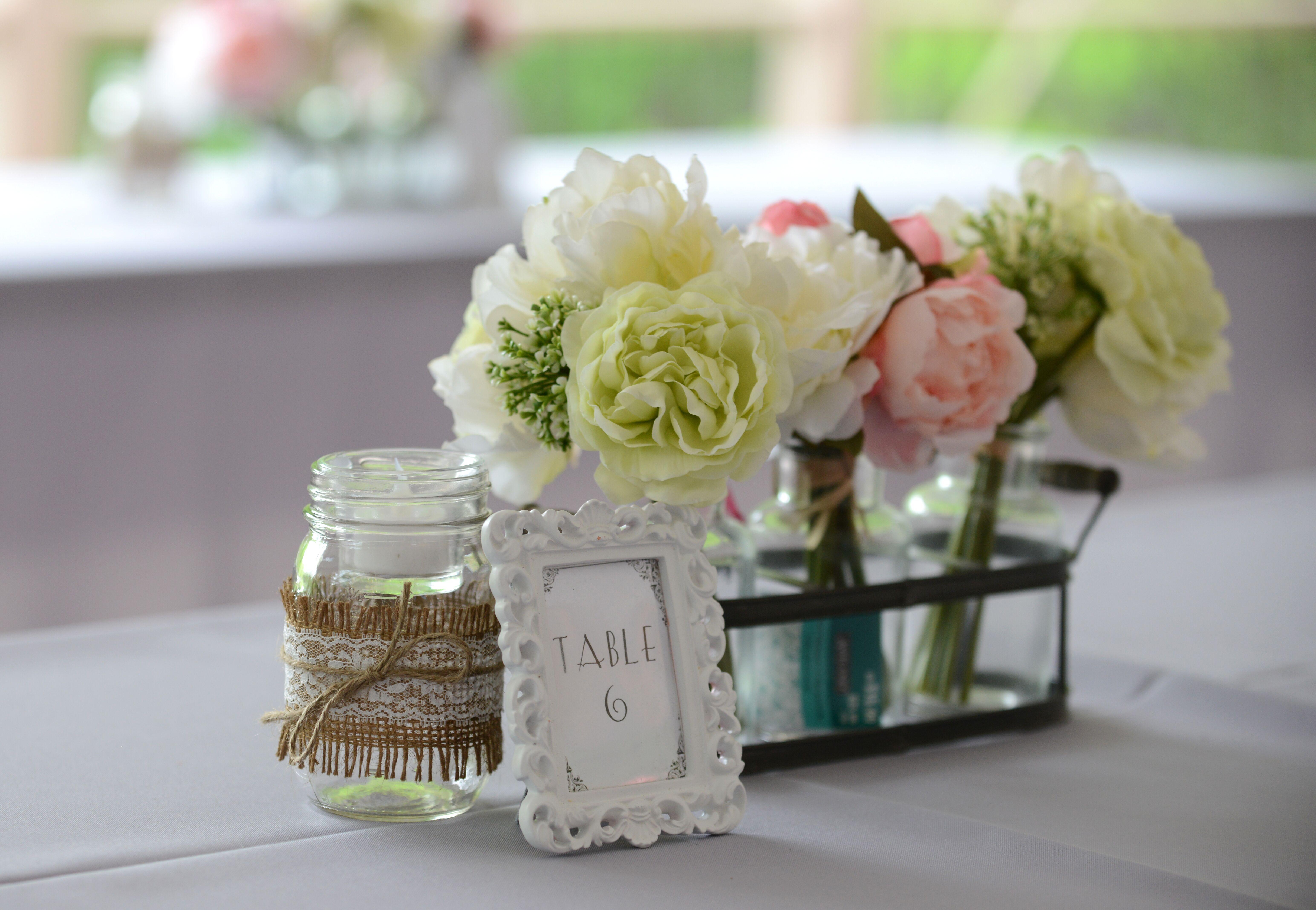 Diy mason jar and silk flower centerpieces for How to arrange flowers in mason jar