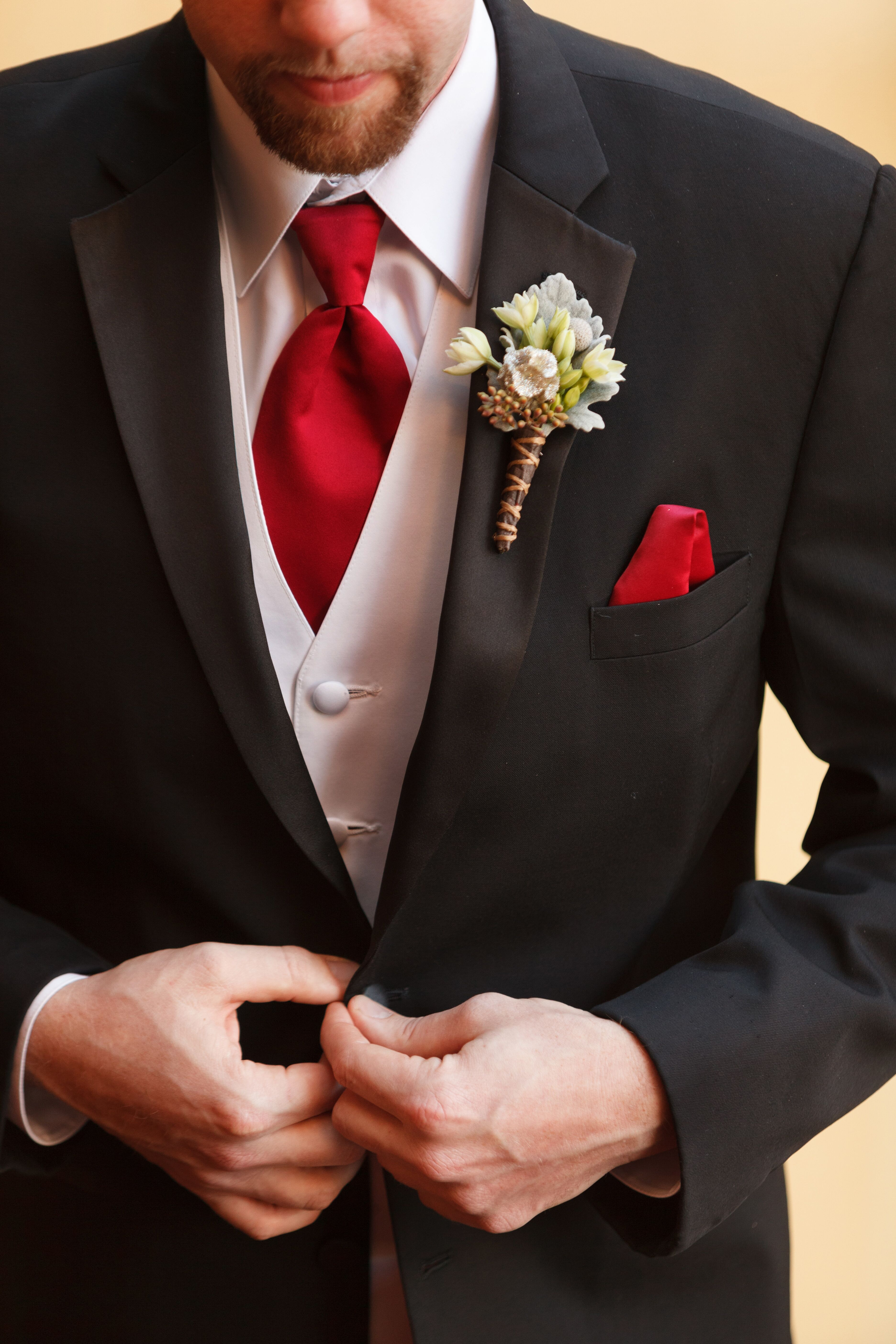 Black And Red Mobile Wallpapers: Black Tuxedo, White Vest And Red Tie