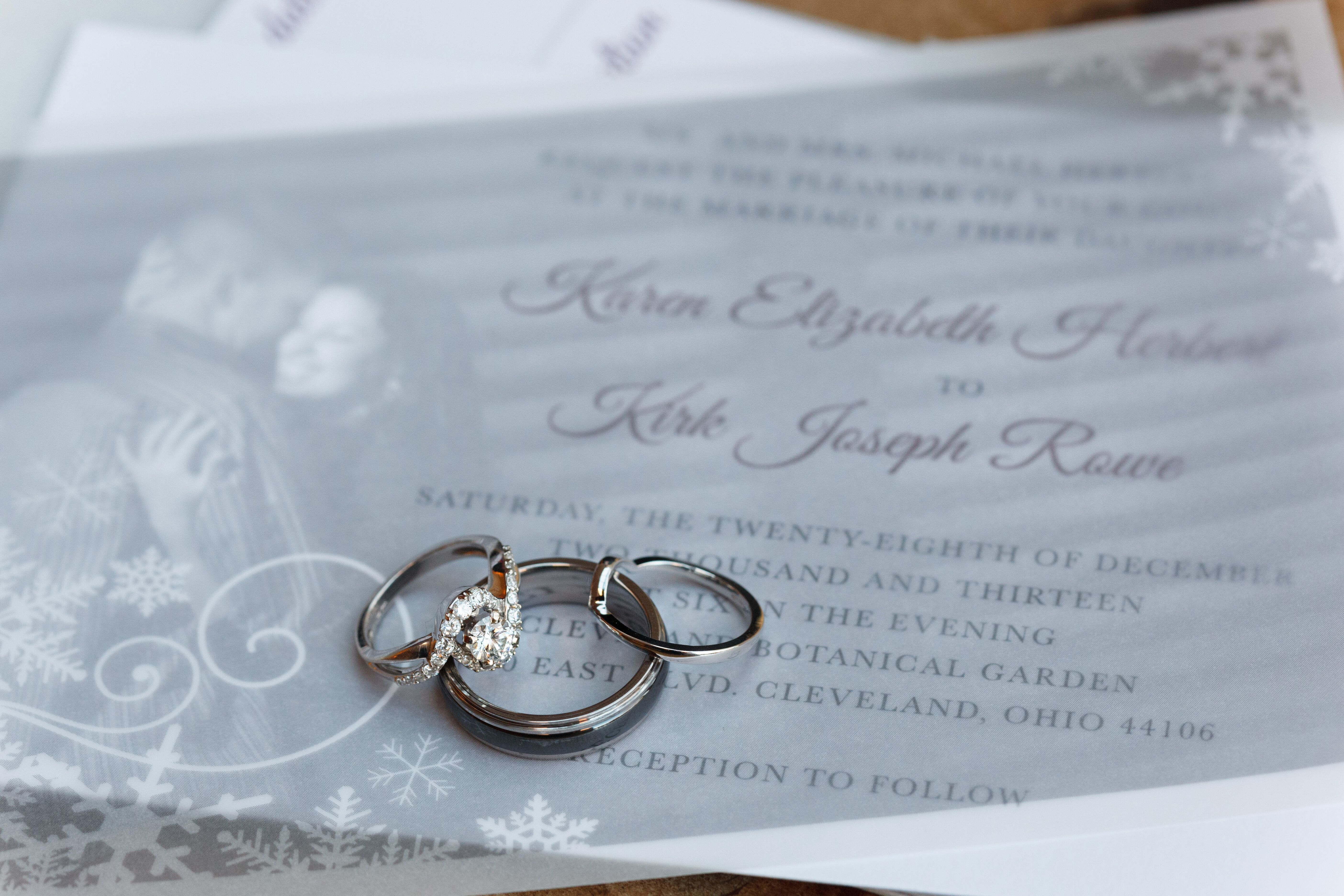 Winter Themed Wedding Invitations: Rings On Winter Themed Wedding Invitations
