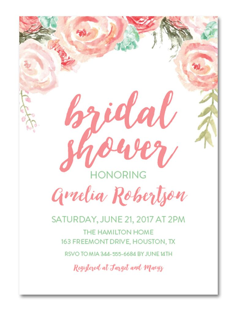 Mint And Blush Watercolor Florals Instant Download DIY Bridal Shower  Invitation  Bridal Shower Invitations Template
