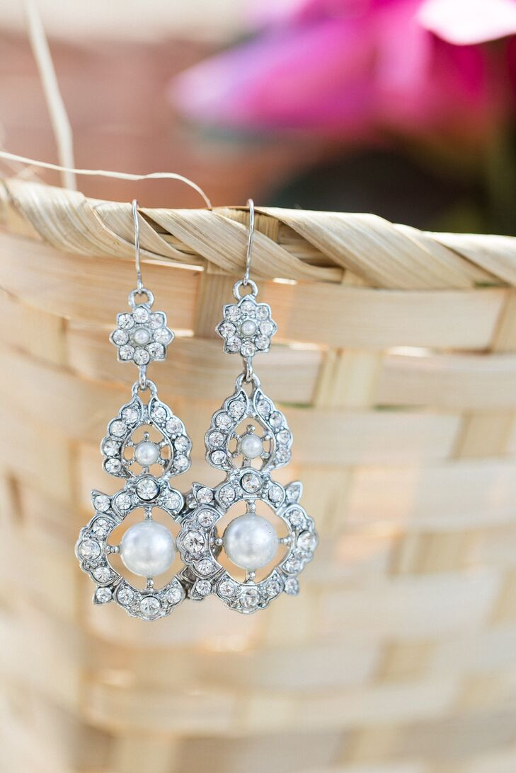 Crystal Chandelier Wedding Earrings With Pearls