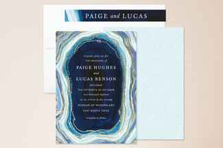 Blue agate wedding invitations from Minted
