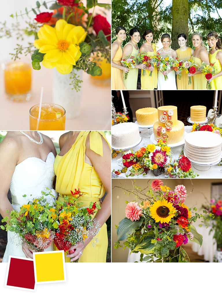 Cardinal red and pineapple wedding color ideas